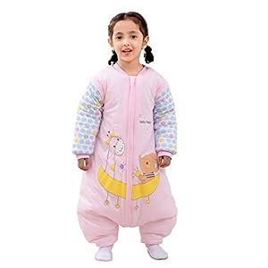 Saco de dormir para bebé con piernas, cálido forro de invierno, de manga larga, con pies, para niños y niñas (XL/Koerpergröße 95-105 cm, rosa/3,5 tog)