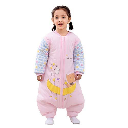 Baby Schlafsack mit Beinen Warm gefüttert Winter Langarm Winterschlafsack mit Füssen,Junge Mädchen Unisex Overall Schlafanzug(L/Koerpergroesse 95-105cm, Pink/3.5 Tog
