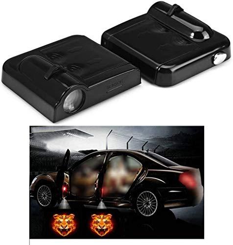 NewL 2x Wireless Projektor Autotür Schritt mit freundlicher Genehmigung Welcome Lights Puddle Ghost Shadow LED-Leuchten (Tiger)
