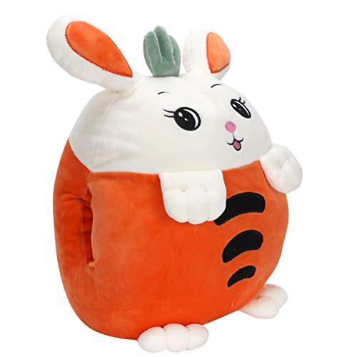 ifundom 3 in 1 Throw Pillow Blanket Set Carrot Rabbit Plush Stuffed Animal Toys Almohada Suave Cojín Calentador de Manos para Sofá Cama Silla Sofá Coche 40Cm Manta 155X110cm Naranja
