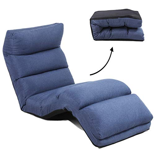 FLOGUOR Large Floor Chair 3-Adjustment Head Back Leg Adjustable Elegant Ergonomic Lounger Chair Comfortable Support Lounger Chair 6-Position for Reading, TV Watching (Blue) 6086BL