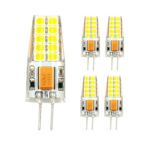 WIKIDOO Bombillas LED G4 de 3 W, T 20 SMD 2835, 280-300 lm, blanco cálido, blanco frío, 3000 K/6000 K AC/DC 12 V, irrompibles, 5 unidades (color: blanco frío)