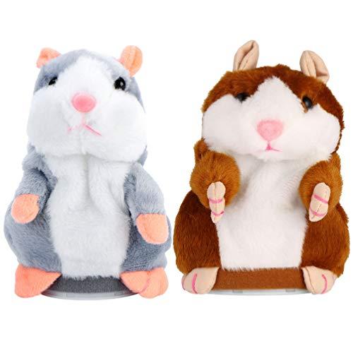 Tomaibaby Sprechen Hamster Spielzeug Plüsch Interaktives Spielzeug Wiederholen was Sie Sagen Hamster Spielzeug für Babys Kinder Kleinkinder, 2Er Pack