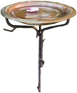 Ancient Graffiti Solid Copper Birdbath with Iron Twig Stake