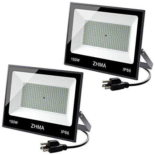 ZHMA 150W LED Flood Lights Outdoor,Super Bright Plug in Flood Light,LED Work Lights IP66 Waterproof,6500K White Light,Outdoor Flood Lights for Backyard,Basketball Court(2 Pack)