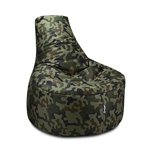 BuBiBag Sitzsack Gamer Junior Sessel Sofa Sitzkissen Sitzmöbel Beanbag Sitz-Kissen für Kinder (55 cm Durchmesser,Camouflage)