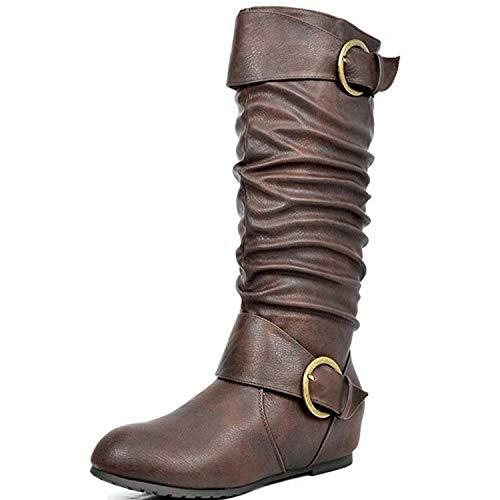 DREAM PAIRS Women's Ura Brown Knee High Low Hidden Wedge Boots Size 10 M US