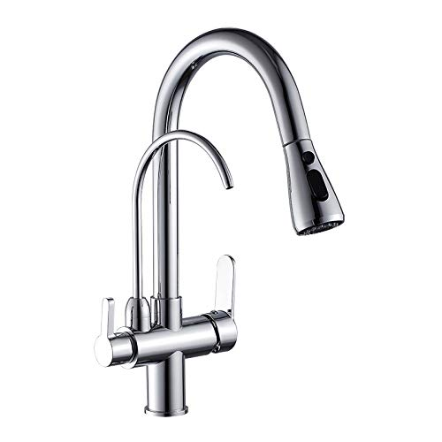 Lichtgewicht en handig Badrandcombinaties Black Keuken Kranen Pull Out Hot Cold Water Filter Tap for Keuken Drie manieren Sink Mixer keukenkraan hjm wujingongju (Color : Pull Out Chrome)