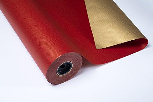 Geschenkpapier, 1Rolle mit 70x100m, geripptes Kraftpapier, doppelseitig, goldfarben/Rot
