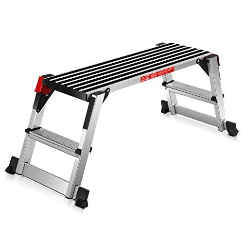 COSTWAY Plataforma de Trabajo Multiusos de Aluminio Carga hasta 150KG Escalera Plegable para Hogar Oficina Taller