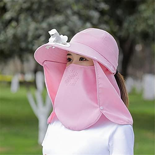 LKJYBG Sonnencreme-Hüte mit breiter Krempe und Sonnenschutzkappe mit Fächerhals-Gesichtsklappe für den Outdoor-Angelsport Rosa Lüftermodelle
