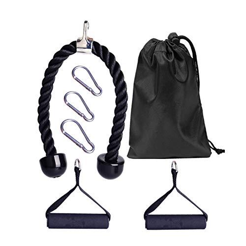 Cuerda de tracción para tejer, cable de cuerda para tejer, para gimnasio y mango potente con mosquetón de presión, combinaciones de brazos