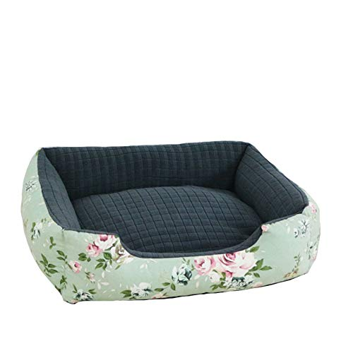 OOFAN Dog bed Hundebett, Qualitäts-Blumen-Muster-Hundebett, sehr weich Hundebett abnehmbare Abdeckung für Tier Couch, voll waschbar, abnehmbaren,L