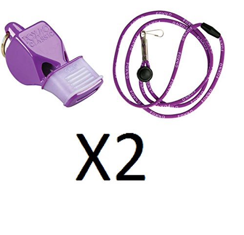 Tide Rider Fox 40 Classic CMG Whistle w/ Lanyard Referee Coach, Purple (2-Pack)