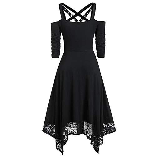 F-pump @ Women's Gothic Halloween Dress Ladies Simple Casual Sexy Dresses Plus Size Strapless Lace Half Sleeve Gothic Lace Dress Платье-Black -XL