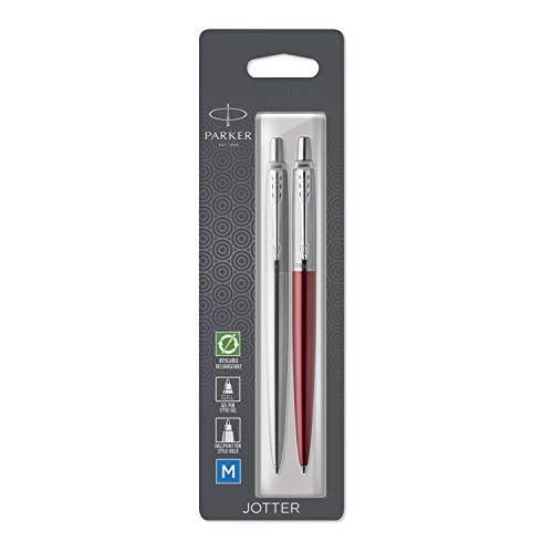 Parker Jotter London paquete Duo Discovery: bolígrafo de acero inoxidable y bolígrafo de gel de color rojo Kensington
