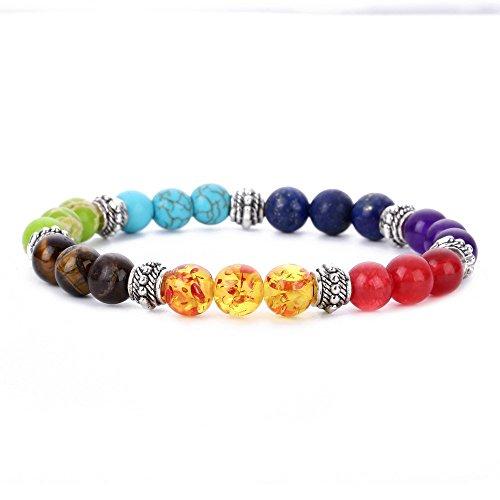 Duckart 8 mm agaat parels 7 chakra's energie stenen armband yoga healing balance steen armband elastische stenen armband