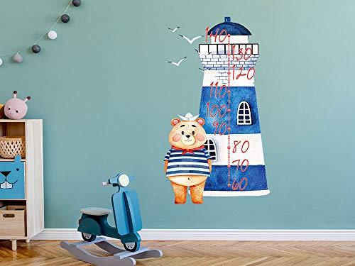 GRAZDesign Messlatte Kind, Leuchtturm mit Matrose, Wachstum Aufkleber, Wandtattoo Kinderzimmer, Geschenk Taufe Geburt / 100x57cm