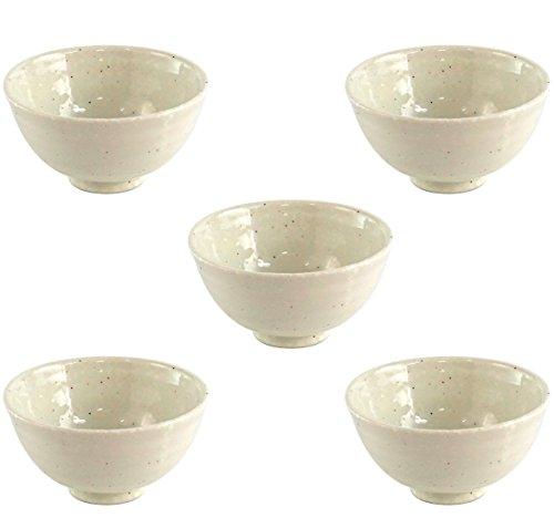 Minoru Touki Keramik-Schüssel mit Schneepulver, groß, 5 Stück, 033 cm, 729099, φ5.08 × H2.8 Zoll, 125,9 g