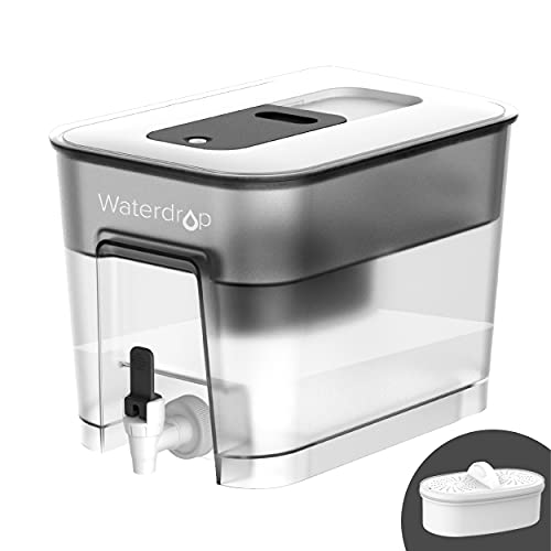 200-Gallon Long-Life 20-Cup Water Filter Dispenser with 1 Filter, 5X Times Lifetime, Reduces Lead, Fluoride, Chlorine and More, BPA Free, Black, by Waterdrop