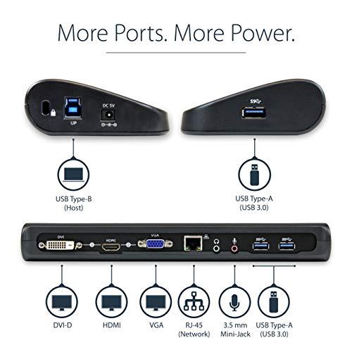 StarTech.com HDMI DVI VGA Dual Video Universal USB 3.0 Docking Station for Laptop