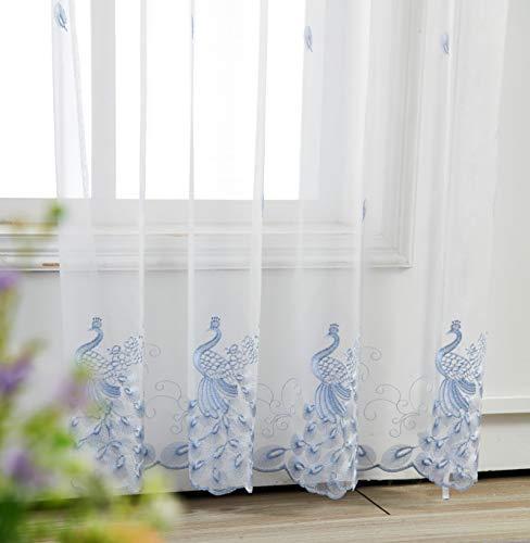 M&W DasDesign, tenda trasparente con occhielli per soggiorno, camera da letto, motivo pavone, ricamo, blu, per protezione solare e privacy, 140 x 245 cm, bianco (1 pezzo)