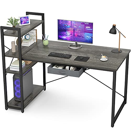 Armocity Computer Desk with Storage Shelves 47 Inch Desk with Storage Drawers 2 Person Desk with Reversible Bookshelves Study Writing Table for Home Office Workstation Bedroom Small Space, Oak