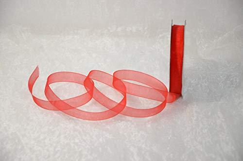 Organzaband 12 mm x 32 m, taśma dekoracyjna w 28 kolorach, taśma szyfonowa, wesele (9055 - czerwona)