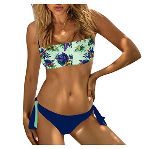 TUDUZ Conjunto Mujer Bikini Estampado Cintura Alta Sin Tirantes Sujetador Braga Ropa Interior Traje De Baño