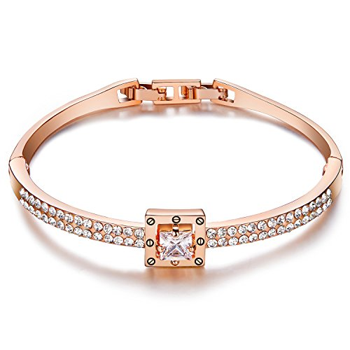 Menton Ezil Princess Crystal Bracelet Rose Gold Luxury Jewelry Adjustable Bangle Bracelets for Womens Girls Wife Anniversary Fashion Collections Loves Design