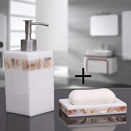 Seifenspender 500ml Lotions geeignet für Badküche | Harz Material, natürliche Muschel Dekoration