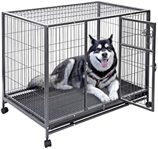 Foldable Heavy Duty Big Metal cage for Big Size Dogs with Wheels - Central Fish Aquarium L:125x B:94 x H:115cms