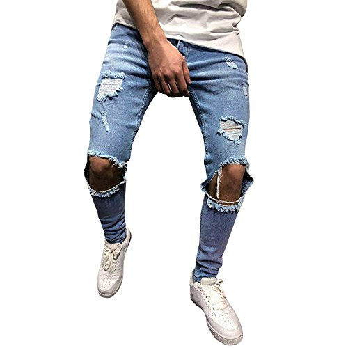 JUTOO 2019 Neue Mens Fashion Skinny Stretch Denim Pants Distressed zerrissene Slim Fit Jeans Hose (Blau,M)