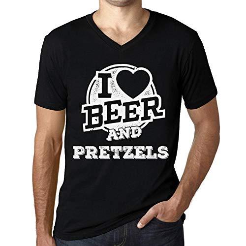 One in the City Hombre Camiseta Vintage Cuello V T-Shirt Gráfico I Love Pretzels Negro Profundo Texto Blanco