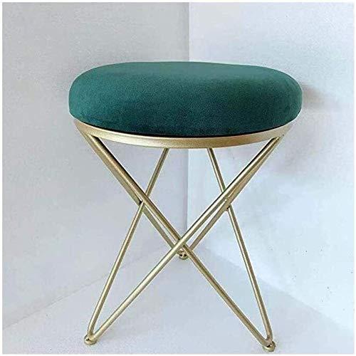 LYYF Reposapiés redondo moderno de hierro taburete redondo tapizado de terciopelo y metal acolchado reposapiés 2122 (color: verde)