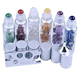 10 ml Roller Balls for Essential Oils - Small Glass Roller Bottles with Decorative Tops & Mini Tumbled Gemstone Chips Inside, 6 pcs