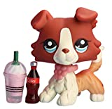 Samll Pet Shop lps Collie 1542, lps Rare Figures Red and Tan Blue Eyes Collie Dog with lps Accessories Drinks Collars Kids Gift