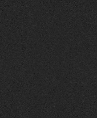 Rasch Tapeten Vlies-Tapete, Uni mit glatter Optik in schwarz, Made in Germany, 610376