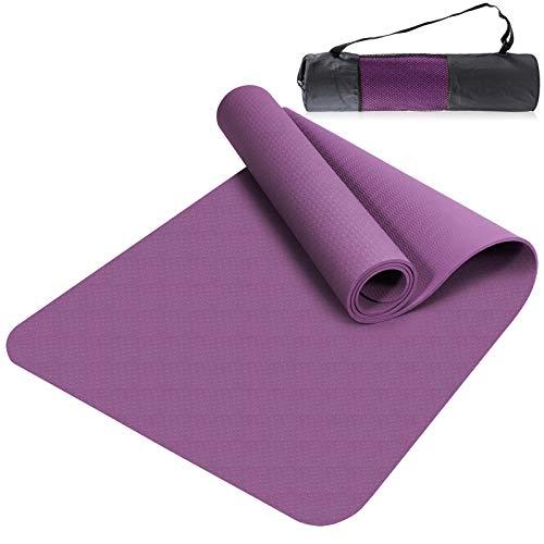 Esyhomi Gymnastikmatte rutschfest Schadstofffrei TPE, Yogamatte Fitnessmatte Übungsmatte mit Tragegurt/Tasche, Profi Matte für Yoga & Pilates (lila)