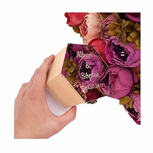 Caja de anillo hexagonal personalizada Texto grabado personalizado Superficie de espejo de madera Caja de anillo de compromiso Ceremonia de boda Portador de anillo Soporte de caja de almacenamiento