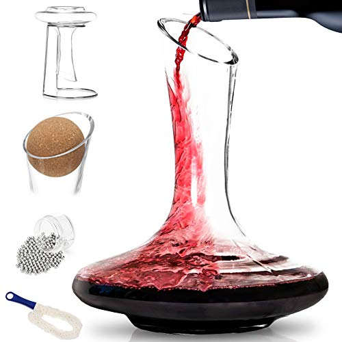 BTäT- Decanter with Drying Stand, Stopper, Brush and Beads, Hand Blown 100% Lead Free Crystal Glass, Wine Decanter, Wine Carafe, Wine Accessories, Red Wine Decanter, Wine Gift