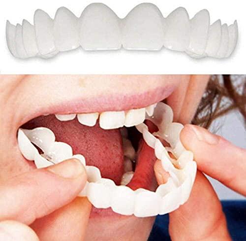 Ulat 4 PCS Silicone Dentier Haut et Bas Sourire Parfait pour Homme et Femme Amovible Naturel Fausse Dents Provisoire Facette Dentaire pour Blanchiment des, Upperteeth,Upperteeth