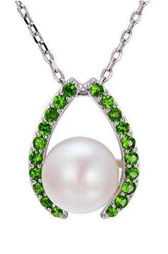 Unbekannt hutang Jewelry 925Sterling Silber 10mm frisch Wasser Pearl & Chrom Diopsid Anhänger Halskette für Damen