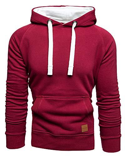 Amaci&Sons Herren Basic Kontrast Kapuzenpullover Sweatjacke Pullover Hoodie Sweatshirt 1-04027 Bordeaux XL