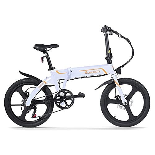 NIUBILITY 20 pollici pieghevole bicicletta elettrica 42 V 10,4 Ah assistenza ciclomotore e bici gamma 40-50 km per il pendolarismo Bianca