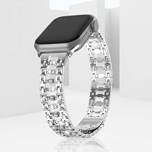 TOWOND Superb Stainless Steel Watch Bands Compatible with Apple iWatch, Bling Diamond Strap for Series 6 SE 5 4 3 2 1 Button Folding Clasp Rhinestones Candy Wristband for Women Silver,38/40mm