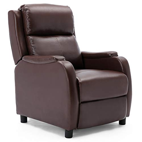 More4Homes CHURWELL BONDED LEATHER PUSHBACK RECLINER ARMCHAIR SOFA CINEMA CHAIR RECLINING(Brown)