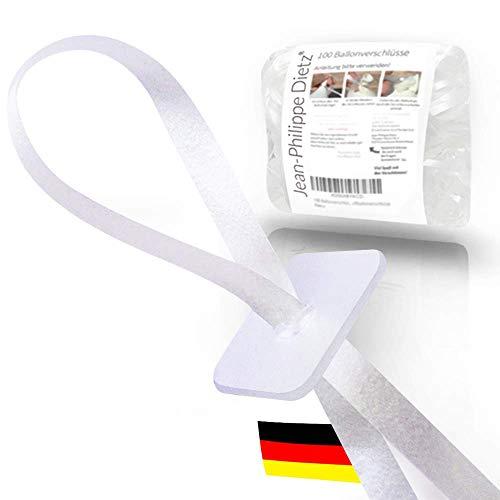 Jean-Philippe Dietz 100 Ballonverschlüsse Helium mit Polyband Weiss | Made in Germany | Ballonband mit Schnellverschluss | Ballonverschluss Ballonbänder Luftballonverschlüsse