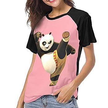 Pmftryuer Kungfu Panda Print Short Sleeve Print T Shirts Fascinating T-Shirt Raglan Sleeve for Women Black