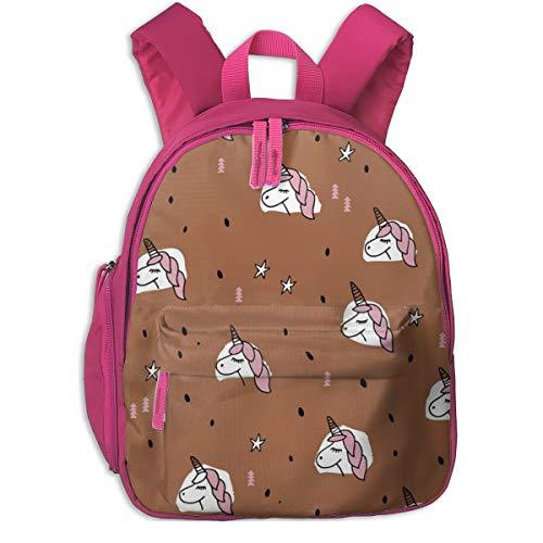 Kinderrucksack für Mädchen, Unicorn Sparkles and Stars Winter Snow Design Mädchen Weihnachten Kupfer Pink Large_4667 - littlesmilemakers, for Kinderschulen Oxford Tuch (pink)